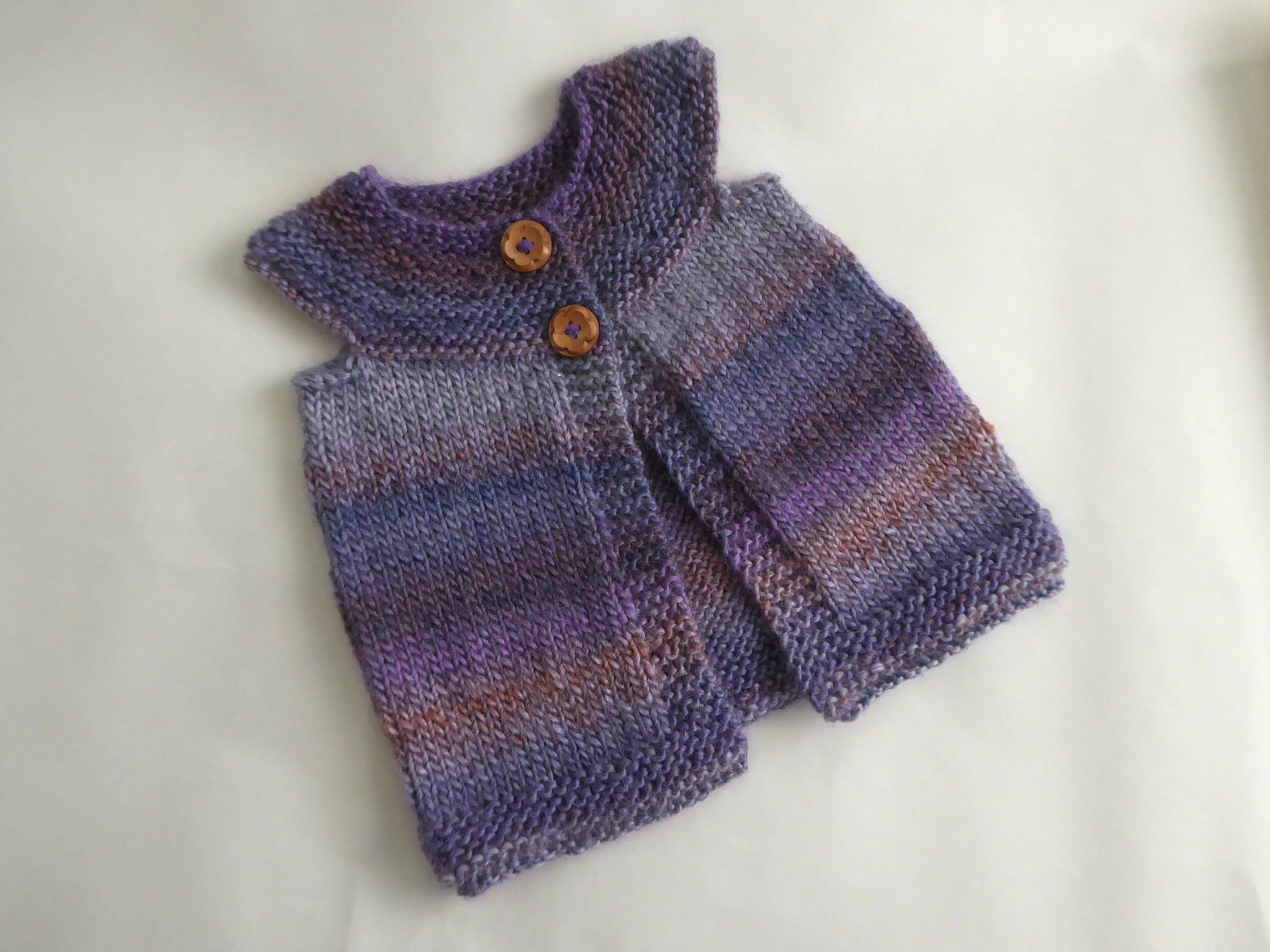 Knitted layering cardigan, girl 6 - 12 months, hand knit purple ...