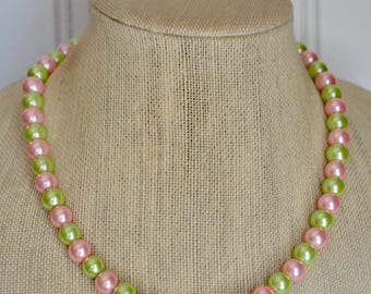 Pink and Green Beaded Necklace