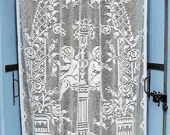 French Vintage, Lace Curtains, Crochet, Lace Drapes,Antique  Cherubs, Lace Handmade, Putti , Drapes, Chateau Curtains, Crochet Draperies