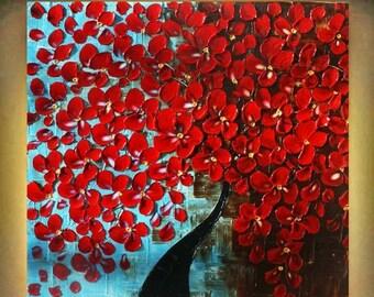 SALE Original Modern Red Tree    Acrylic Impasto Palette Knife Painting . Size 24 x 24.