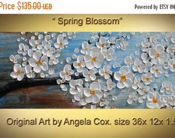 SALE Original  Abstract Contemporary White  Blossom Tree Thick Texture  Impasto Palette Knife Painting. 36 x 12..
