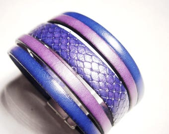 klein Blue lizard leather bracelet purple with silver clasp