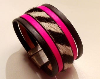 Zebra hair neon pink black leather cuff with silver magnetic clasp