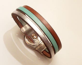 leather belt cognac Mint and silver with silver zamak magnetic clasp bracelet
