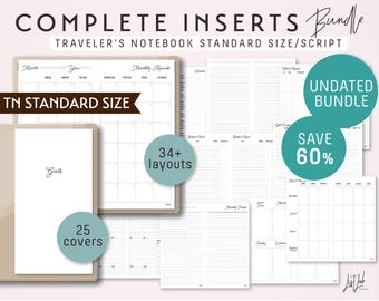 Standard Size Traveler's Notebook COMPLETE Inserts Bundle - Printable PDF - Script Theme - 39+ sheets with 25 covers - fits Midori Standard