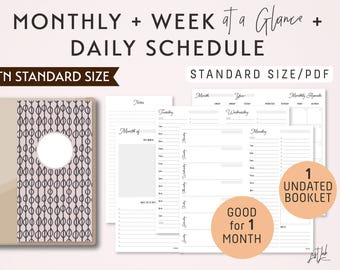 STANDARD Size Monthly-Weekly-Daily Schedule TN Printable Booklet Insert - fits Traveler's Notebook Standard Size