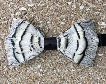 Charleston Feather bow tie, Black and White Lady Amherst feather bow tie, silk pre tied adjustable handmade