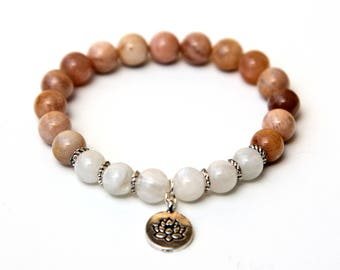 Sunstone anklet, Moonstone anklet, sunstone jewelry, moonstone jewelry, sunstone beads, moonstone,beads, lotus anklet, lotus charm