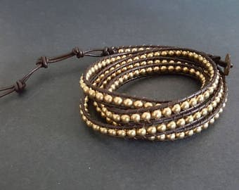 Brass Beads  Leather Wrap  Bracelet/Anklet
