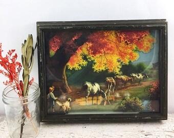 SUMMER SALE Amazing Framed Vintage 3D Paper Art - Farm Scene