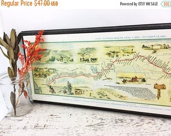 SUMMER SALE Large Mounted Vintage Pony Express Route Print