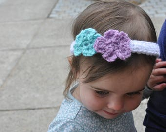 Double Flower Crochet Headband- Child