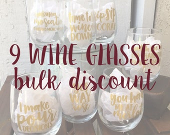 9 Wine Pun Stemless Wine Glasses - BULK DISCOUNT: Funny Wine Glasses, Wine Puns, Wine Gifts, Stemless Wine Glass
