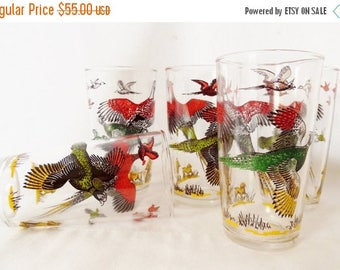 ON SALE Vintage, Hazel Atlas, Pheasant, Hunting, Glassware, Barware, Set of 5, Sportsmen, Dog, Bird, Duck, Red, Yellow, Green