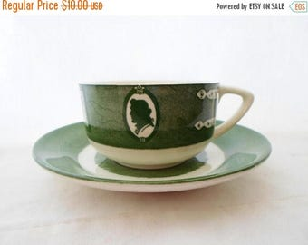 ON SALE Vintage, Teacup, Cup, Saucer, Tea Cup, Colonial Homestead, Green & White, Royal, USA, Cottage Chic, Serving