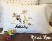 Personalized Tribal Jungle Safari Animals on White Toddler Travel Pillowcase Soft 100% Cotton Flour Sack Fabric Giraffe Elephant Zebra Hippo