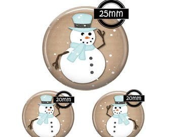 Set 25MM-20mm GLASS, 3 Glass Cabochons Ref 1347 snowman
