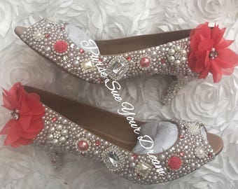 Coral Wedding Vintage Inspired Heels - Swarovski Crystal Heels - Pearl and Coral Rhinestone Heel Shoes -  Bridal Shoes - Coral Bridal Pumps