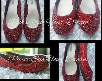 Custom Ruby Red Swarovski Crystal Rhinestone Ballet Flat Shoes