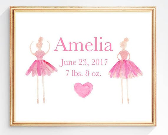 Baby Ballerina Print for Newborn Girl, 8x10 Birth Stats Print