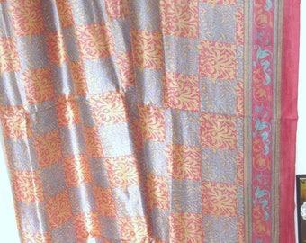 Vintage Sari Printed Silk Fabric 5 Yards