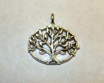 4 Antique Silver Tree of Life Charms/Pendants