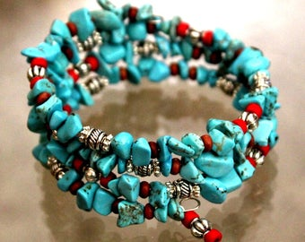 Bohemian Blue and Red Turquoise and Silver Wrap Bracelet with Dangle