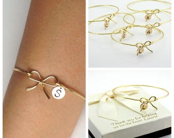 Free Shipping Set of 6 gold fill bow bangles for bridesmaids, bridesmaids bracelets, bow bangles, personalized bangles.