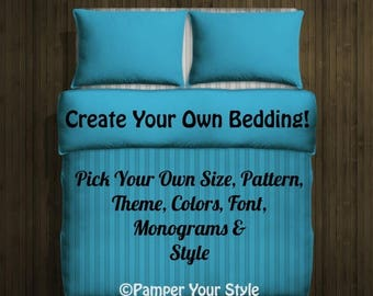 ON SALE Design my own bedding - Twin - Queen - King Custom Duvet Bedding - Monogram Bedding - Create My Own Bedding
