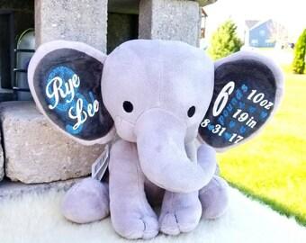 Personalized Birth stats stuffed animal/elephant/vinyl iron on/custom/baby gift/personalized