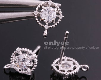 1pair/2pcs-10mmX8.5mmRhodium Plated over Brass Round Cubic zirconia earring, 925 sterling silver post Earring Findings(K1324S)