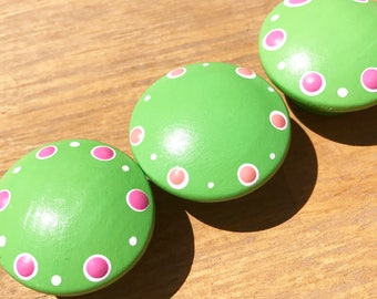 CLEARANCE Bright Lime Green Knob with Hot Pink Polka Dot Accents Drawer Knobs for Dresser Drawers Closet Doors great for girls room nursery