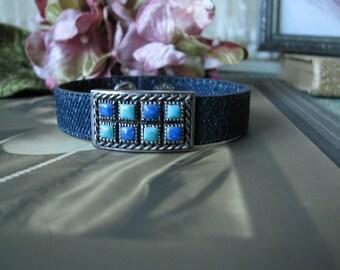 Sterling Silver Turquoise Lapis Denim Cuff Bracelet, Sterling Denim Bracelet, Sterling Turquoise Cuff Bracelet