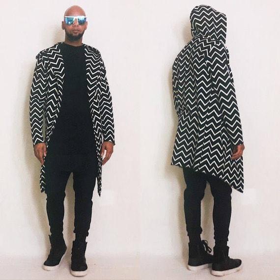Chevron Pattern Open Drape Front  Hooded Cardigan