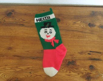 Vintage Hand Knit Christmas Stocking Personalized Heidi