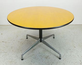 FREE SHIPPING mid century modern Herman Miller Charles Eames walnut aluminum base round dining table