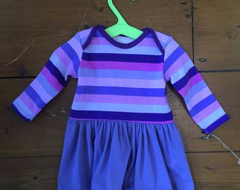 Long sleeved jersey dress with gathered skirt  0-3 months