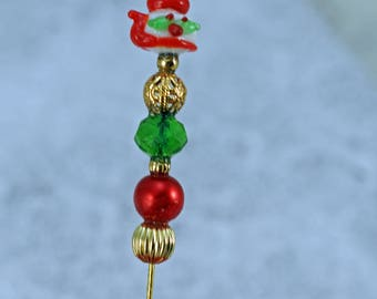 Handmade Hat Pin, Teapot Hat Pin or Brroch Christmas Colors (BB)