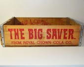 The Big Saver From Royal Crown Cola Co. 1975 Wood Crate