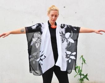 Sheer Kimono: Black and White Floral Sheer Kimono Bathing Suit Cover Up