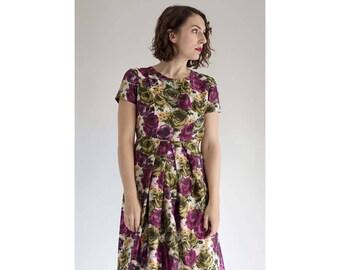 1960s Dress - Silk Floral Dress - A Line Dress - Rosaio Dress