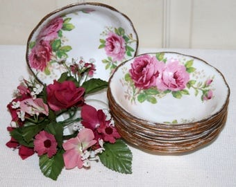 "Vintage Royal Albert ""American Beauty"" -  Set of 8 Sauce Bowls - Pink Roses - English Bone China"