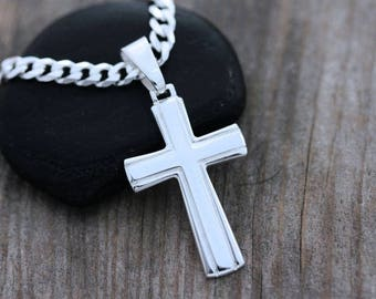 Plain cross pendant etsy classic mens cross sterling silver cross for men mens plain cross necklace choose sterling aloadofball Image collections