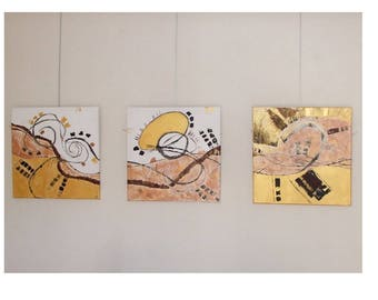 "Abstract triptych Panel copper golden white ""Triptych abstract 4 elements"""