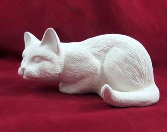 Ceramic Ready to Paint Crouching Cat  handmade, ceramic bisque