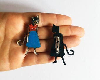 Cat Lapel Pin | Cat Lady Brooch | Stainless Steel (Nickle Free) Laser Cut Wood Dangle Earrings | Illustrated Retro Cats