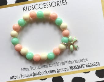 Yellow, mint, and peach bow bracelet