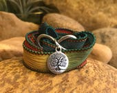 Tree infinity colorful wrap bracelet with silk ribbon and charms. Great gift for yoga enthusiasts.