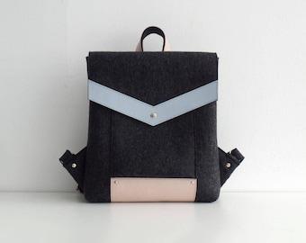Melange Black Pink Blue Felt Genuine Backpack