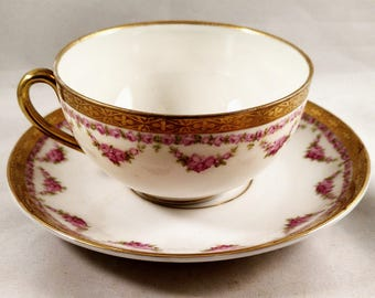 Imperil Crown China Demitasse Cup/Saucer, Floral Wreath Motif, Gold Banded. Wedding Gift, Housewarming Gift, Get  Well Gift, Thank You Gift